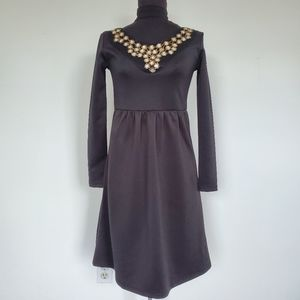 Black Lilac Rhinestone Embellished Skater Dress XS